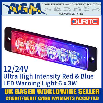 Durite 0-441-25 Red & Blue Ultra High Intensity 6 x 3W LED Warning Light 12/24V