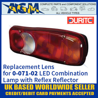 Durite Replacement Lens for 0-071-02 Rear Combination Lamp with Reflex Reflector
