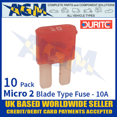 0-376-70 Durite Micro 2 Blade Type Fuse, Red, 10 Amp, 10 Pack Micro 2 Fuses