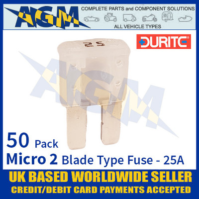 1-376-82 Durite Micro 2 Blade Type Fuse, White, 25 Amp, 50 Pack Micro 2 Fuses