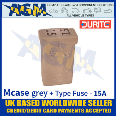 0-379-08 Durite Grey Mcase + Type Fuse - 15 Amp, Mcase & Fuse 15A