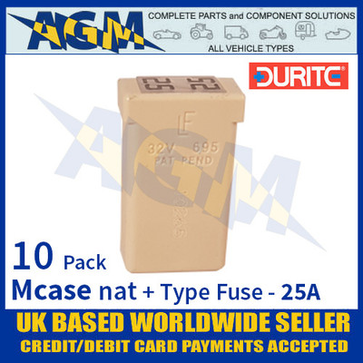 1-379-10 Durite Natural Mcase + Type Fuse - 25 Amp, Mcase & Fuse 25A - 10 Pack