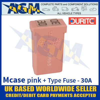 0-379-11 Durite Pink Mcase + Type Fuse - 30 Amp, Mcase & Fuse 30A