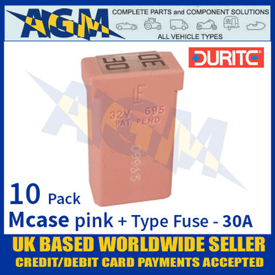 1-379-11 Durite Pink Mcase + Type Fuse - 30 Amp, Mcase & Fuse 30A - 10 Pack