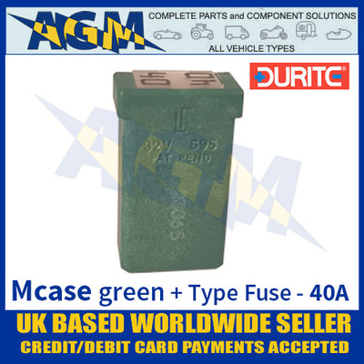 0-379-12 Durite Green Mcase + Type Fuse - 40 Amp, Mcase & Fuse 40A
