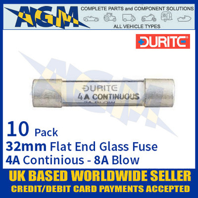 0-374-04 Durite 32mm Flat-Ended Glass Fuse - 4A Cont with 8A Blow