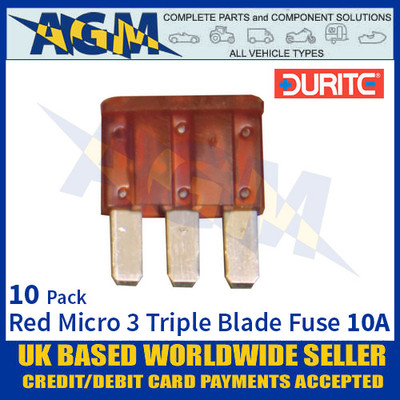 Durite 0-371-61, Red Micro 3 Triple Blade Type Fuse - 10 Amp Fuse
