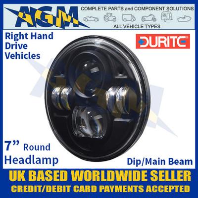 "0-422-55 Durite 7"" Round Headlamp Unit with Dip/Main Beam, 12/24V, Right Hand Drive"