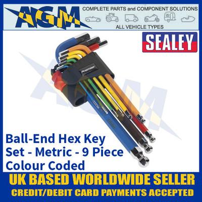 Sealey AK7190 Ball-End Hex Key Set, 9 piece, Colour Coded Long Metric