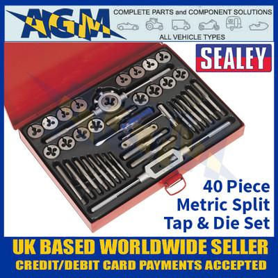 Sealey AK3040 Metric Tap and Die Set, 40 Pieces, Split Dies Metric