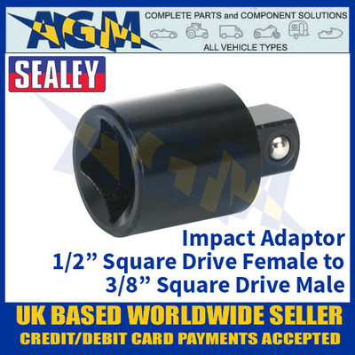 """Sealey AK5401 Impact Adaptor 1/2""""Sq Drive Female - 3/8""""Sq Drive Male"""