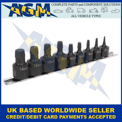 Sealey AK7222, Stud Extractor, Nine Piece Set