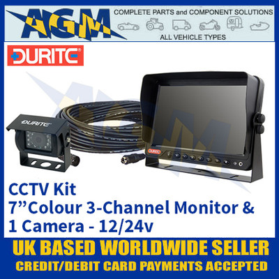"""Durite 0-775-68 CCTV Kit with 7"""" Colour 3-Channel Monitor + 1 Camera 12/24v"""