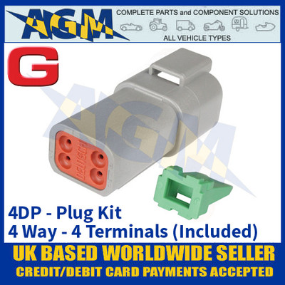 Deutsch 'DT' Series Connector - 4DP Plug Kit - 4 Way - 4 Terminals Included
