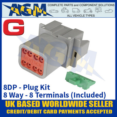 Deutsch 'DT' Series Connector - 8DP Plug Kit - 8 Way - 8 Terminals Included