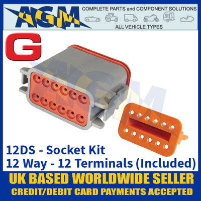 Deutsch 'DT' Series Connector - 12DS Socket Kit - 12 Way - 12 Terminals Included