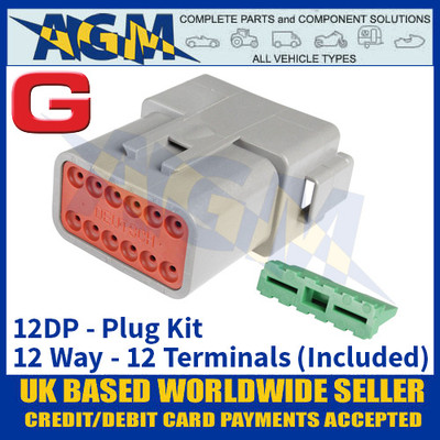 Deutsch 'DT' Series Connector - 12DP Plug Kit - 12 Way - 12 Terminals Included