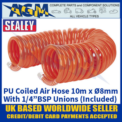 "Sealey AH10C/8 PU Coiled Air Hose, 10m x Ø8mm with 1/4""BSP Unions"