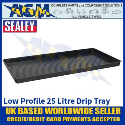 Sealey DRPL25 Low Profile Drip Pan, 25 Litre Capacity, Oil & Fluid Drip Floor Pan