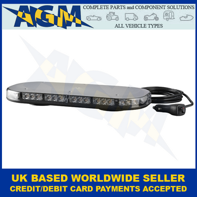 LED Autolamps, MLB380R65ABM-VM, Magnetic, Led Mini Lightbar,  Amber, 12/24v