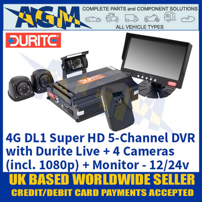 4G DL1 Super HD 5-Channel DVR with Durite Live + 4 Cameras (incl. 1080p) + Monitor 12/24v