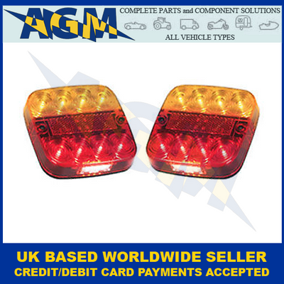 LED Autolamps, 99ARLL2 (x2), LED Rear Multi Function With Number Plate Illumination Lamps, 12v