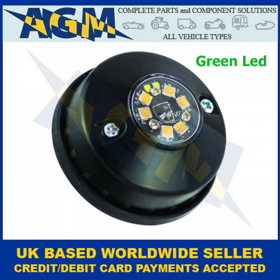 Led Autolamps HALED6DVG, Hideaway Covert, Green Warning Lamp, 12/24v