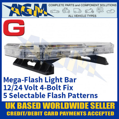 Guardian Automotive AMB109S 4-Bolt LED Mega-Flash Light Bar 12/24v, 600mm Long