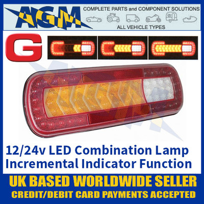Guardian Automotive RL122 LED Combination Lamp with Incremental Indicator, 12/24v