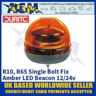 Durite 0-444-41 Single Bolt Fix Multifunctional Amber LED Beacon, 12/24v
