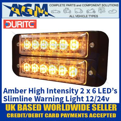 Durite 0-441-10 High Intensity 2 x 6 LED AMBER Warning Light Slimline 12/24v