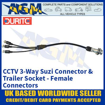 Durite 0-775-91 CCTV 3-Way Suzi Connector & Trailer Socket, Female Connectors