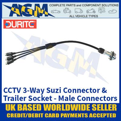 Durite 0-775-92 CCTV 3-Way Suzi Connector & Trailer Socket, Male Connectors