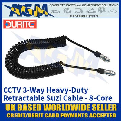 Durite 0-775-99 CCTV 3-Way Heavy-Duty Retractable Suzi Cable, 8-Core