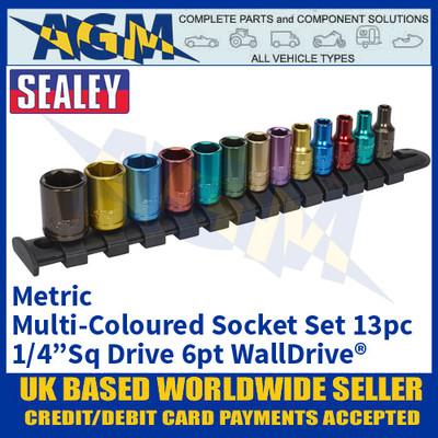 """Sealey AK2872 Multi-Coloured Socket Set 13pc 1/4"""" Sq Drive 6pt WallDrive® Metric"""