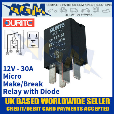 Durite 0-727-51 Micro Make/Break Relay 30A, 12 Volt, Sealed with Diode