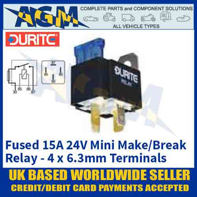 Durite 0-726-30 Mini Fused Make/Break Relay 24 Volt, 15A