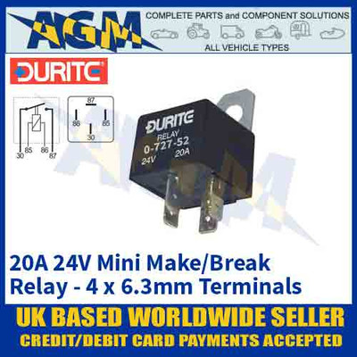 Durite 0-727-52 Mini Fused Make/Break Relay 24 Volt, 20A