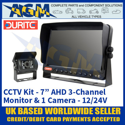 "Durite 0-776-72 CCTV Kit - 7"" AHD LFT LCD 3-Channel Colour Monitor + 1 Camera 12/24V"