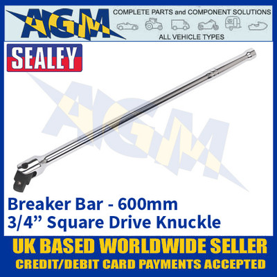 """Sealey AK731 Breaker Bar 600mm 3/4"""" Square Knuckle Drive, Heavy Duty"""