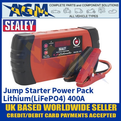 Sealey SL1S 12V Jump Starter Power Pack Lithium (LiFePO4) 400A, Jump Starter