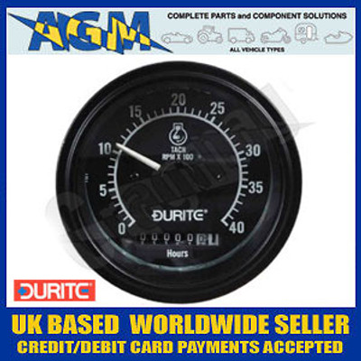 Durite 0-523-78 Marine Style 12/24v 0-4000 RPM Tachometer with Hourmeter