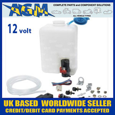 Universal Windscreen Washer Bottle Kit 12 Volt Ideal for VW Beetle, Classic Cars