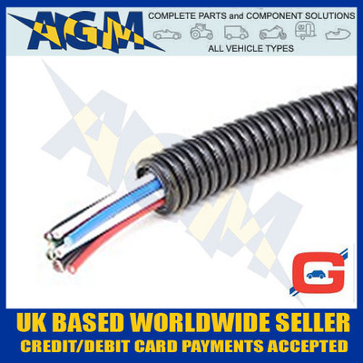 GUARDIAN GCT13 Convoluted Un-Split Black Nylon Tubing Trunking 16mm OD 10 Metre