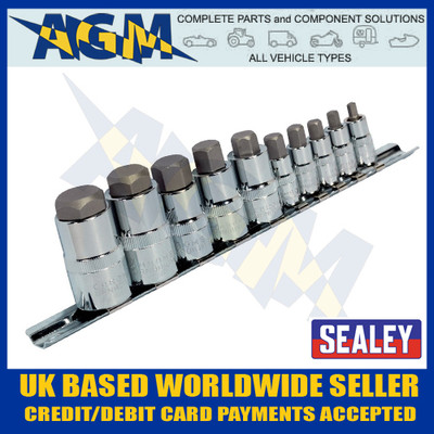 "Sealey AK6229 Hex Socket Bit Set 10pc Stubby Allen Key 1/4"", 3/8"" & 1/2""sq Drive"