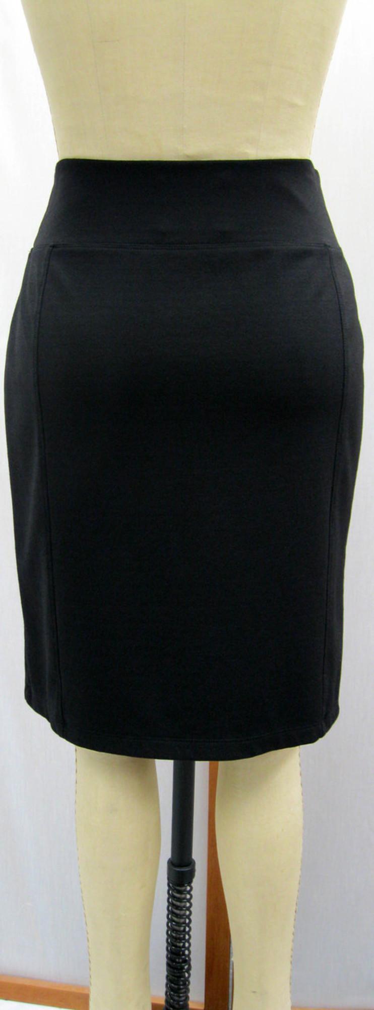 Ponte Knit Straight 6-Panel Skirt