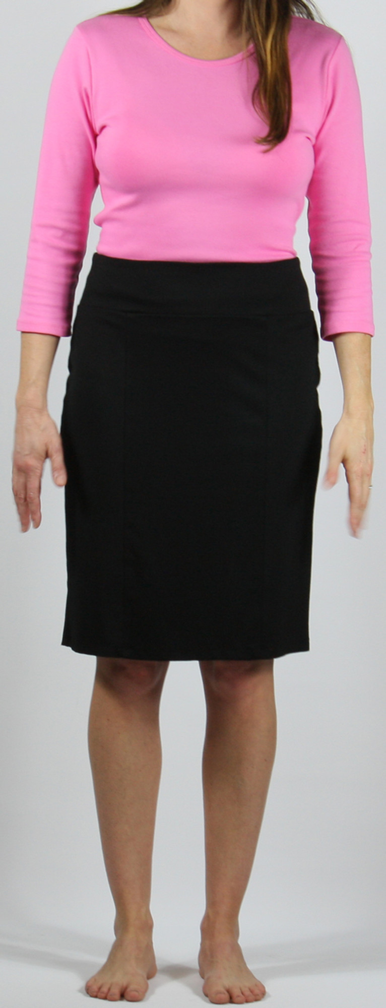 """Ponte knit straight 6-panel skirt, model is 5'8"""" and wearing size small."""