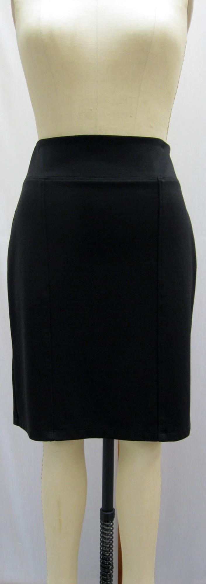 Ponte Knit Straight 6-Panel Skirt, Front, Black