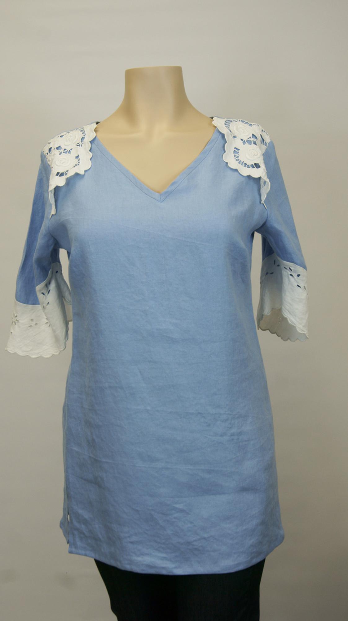Blue Linen Lace Tunic
