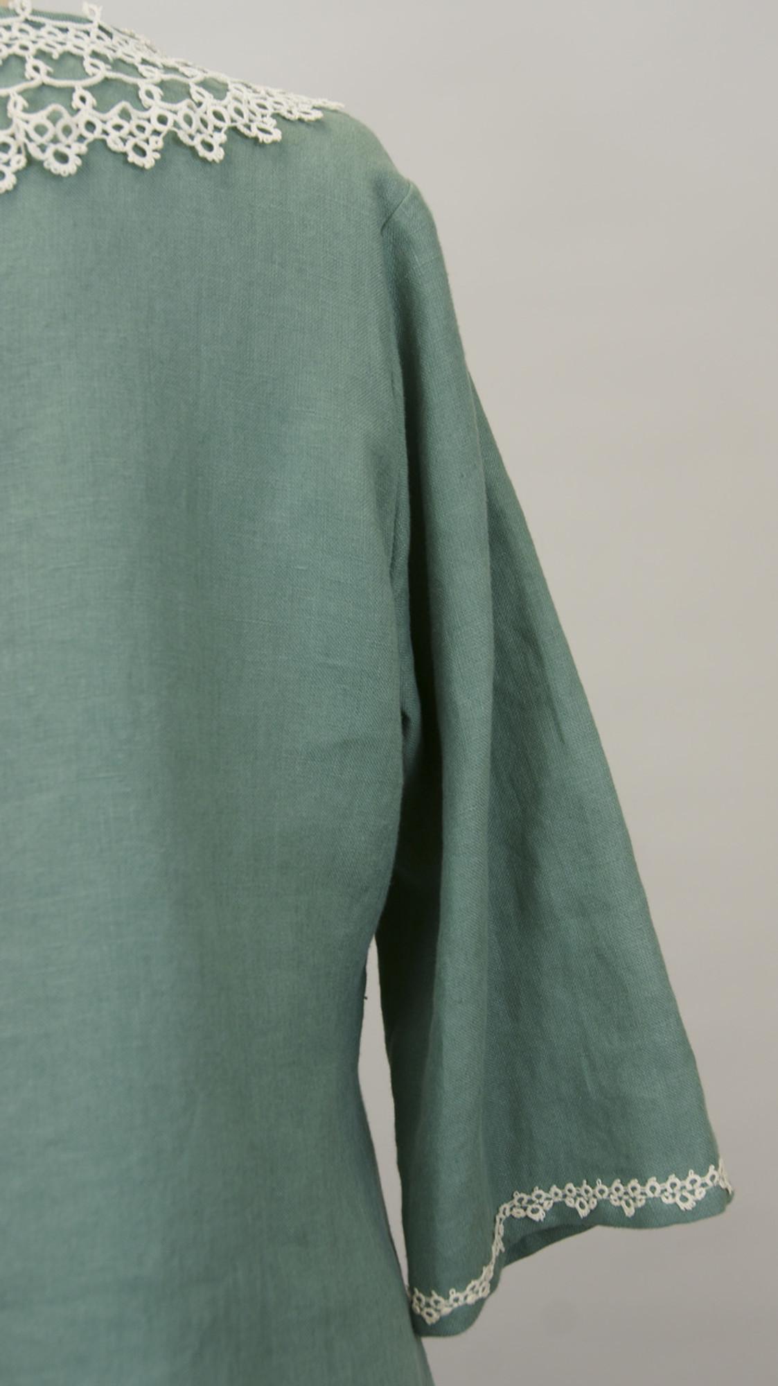 Green Linen Tunic Top (Size Xlarge)